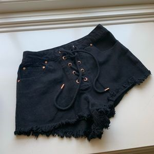 Black lace up shorts